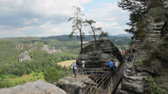Tourists in Bastei. Saxon Switzerland National Park, Germany Stock Footage