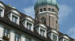Frauenkirche's tower seen from Neuhauser Strasse, Munich Stock Footage