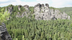 Bastei. Elbe Sandstone Mountains. Saxon Switzerland National Park Germany - stock footage