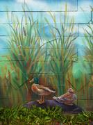 Wild duck male and female sitting on a stone, acrylic painting on a wall Stock Illustration