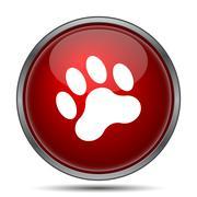 Paw print icon. Internet button on white background.. - stock illustration