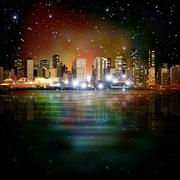 Abstract background with panorama of vancouver Stock Illustration