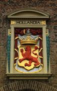 Netherlands emblem - Red lion in Hague city - stock photo