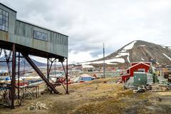 Abandoned cablecar station used for coal transportation, Svalbard Stock Photos