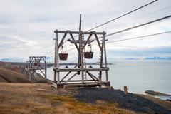 Old cable car for coal transportation, Svalbard, Norway - stock photo