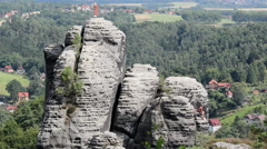 Man is climbing in Bastei. Saxon Switzerland National Park, Germany - stock footage