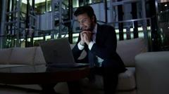 Caucasian European business male night developer traveller technology laptop - stock footage