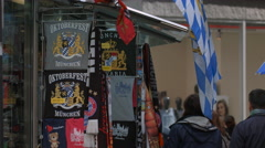 Oktoberfest Munchen flags at a souvenirs shop in Munich Stock Footage