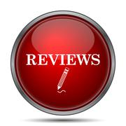 Reviews icon. Internet button on white background.. Stock Illustration