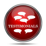 Testimonials icon. Internet button on white background.. Stock Illustration