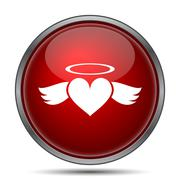 Stock Illustration of Heart angel icon. Internet button on white background..