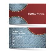 Creative simle horizontal business card template with denim pattern and zippe Stock Illustration