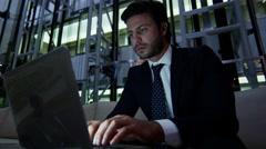 Caucasian European business male night developer traveller laptop smart phone Stock Footage