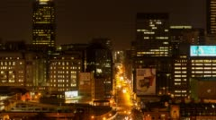 Nightlife, traffic and people buzzing in Johannesburg Stock Footage