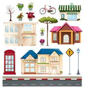 Buildings and things we see on the street Stock Illustration