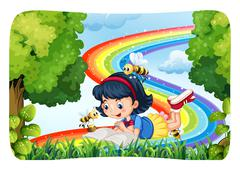 Girl reading in nature with rainbow Stock Illustration