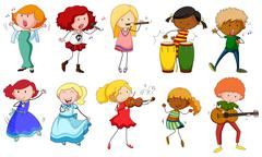 Singers and musicians in actions Stock Illustration