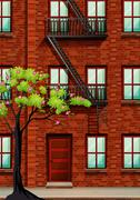 Fire escape on the apartment wall Stock Illustration