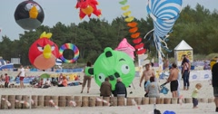 Angry birds air swimmers and conic kites - People Preparing to Fly Comic Stock Footage