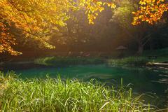 Idyllic autumn scenery around the small lake - stock photo