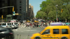 Busy traffic time-lapse from Columbus Circle Manhattan, New York - stock footage