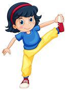 Girl doing exercising alone Stock Illustration