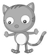 Cat in black and white alone Stock Illustration