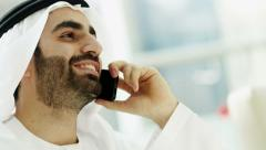 Arabic business male traveller global investment technology smart phone - stock footage