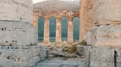 Static shot of Segesta Greek temple in Sicily. Italy Stock Footage