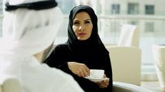 male female Emirati lifestyle coffee travel tourism international traveller - stock footage