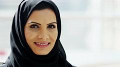 Portrait Arabic female traditional dress social lifestyle coffee hospitality Stock Footage