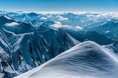 Winter snowy mountains. Caucasus Mountains, Georgia, Gudauri Stock Photos