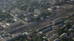 RUSSIA. Saint Petersburg - 2014: Aerial view of the railway station - stock footage