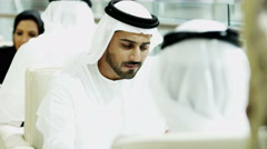 Arabic male female business colleague Gulf Region city insurance economy export Stock Footage