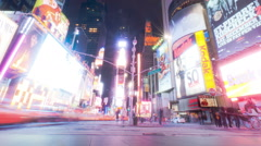 Panning shot of Times Square time lapse looking down 7th Ave Stock Footage