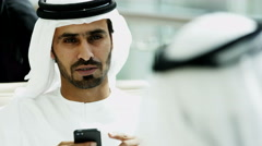 Emirati male business colleagues meeting oil commodity tablet technology - stock footage
