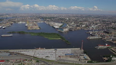 RUSSIA. Saint Petersburg - 2014: Aerial view of the port area Stock Footage