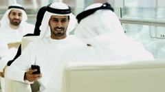 Emirati male business meeting oil financial smart phone technology - stock footage