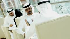 Dubai Arab business male tablet cloud technology hotel commercial export - stock footage