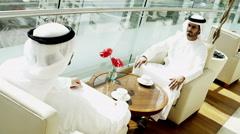 Emirates UAE business male city office handshake stocks shares broker industry - stock footage