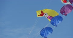 Different Cartoon Heroes Kites Are Flying in The sun on the International kite Stock Footage