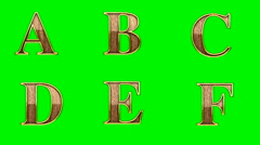 loop golden alphabet. chromakey - stock footage