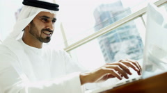 male Arabic construction real estate business executive office laptop technology - stock footage