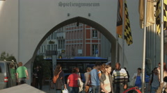 Spielzeugmuseum under the Old Town Hall's tower in Munich Stock Footage