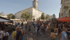 Lviv, Ukraine, 30.08.2015, Market Square (Ploshcha Rynok) at sunny day Stock Footage