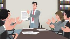 Cartoon Corporate / Man Shows Successful Contract Arkistovideo