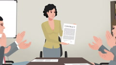 Cartoon Corporate / Woman Shows Business Contract Stock Footage