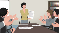 Cartoon Corporate / Girl Shows Business Contract - stock footage