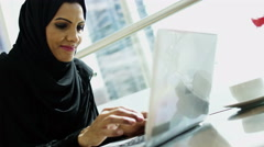 female Arabic construction real estate business executive laptop technology - stock footage