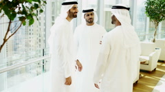 Emirati male business colleagues office meeting oil economy building development - stock footage